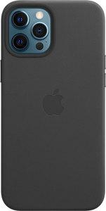 Чехол Apple MagSafe для iPhone 12 Pro Max, кожа, чёрный